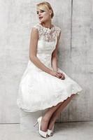 New Design Lace and Taffeta A-Line Wedding Dress Knee Length Wedding Dress With Detachable Lace Hot Sale