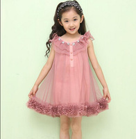 2014 new Summer lovely Cute Kids Girl dress Chiffon Flower Sleeveless Lace ruffles Princess Party Tutu Dresses For Casual E5146