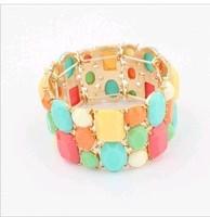 Exquisite Wide elastic colorful stone Bracelet European fashion bracelet wholesale