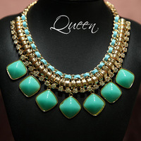 Women Fake Collar Clavicle Chain / Fake Precious Stone Pendant Crystal Necklaces