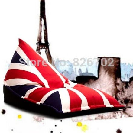 Vente en gros- drapeau britannique style sac de haricots chaise de jardin en plein air camping poufs canapé paresseux couvrir portable n'importe où assis coussin