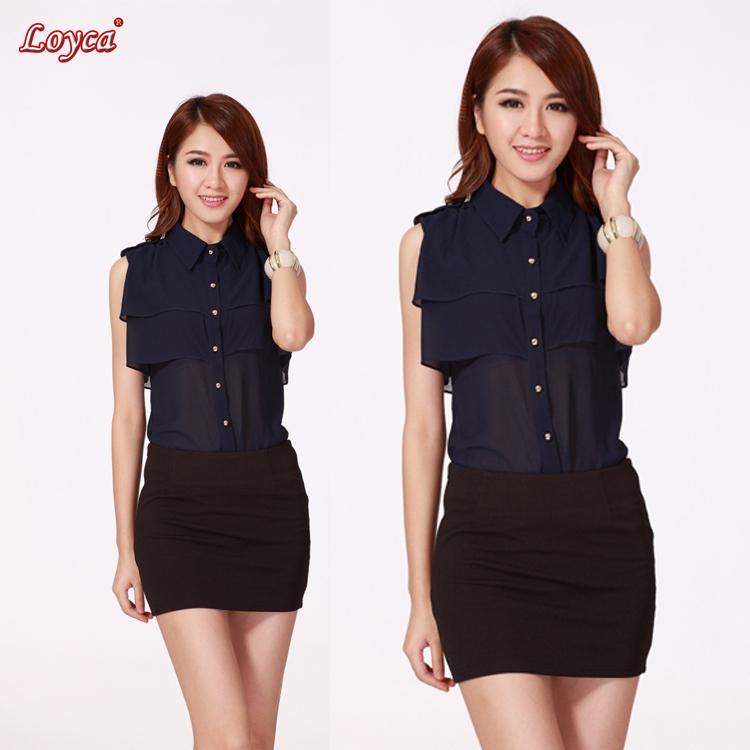 marca mulheres blusa chiffon novo 2014 verão coreano azul marinho tamanhos m-xl camisa mulheres blusas tops para as mulheres g6688#(China (Mainland))