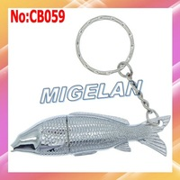 2014 Top Fasion Stock Free shipping Wholesale Metal Fish USB Flash Memory Stick Pen Drive Disk For Computer with Key Chain CB059