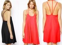 Wholesale new elegant sexy party dresses women tropical vestido de festa chiffon 2015 summer beach dress roupas femininas black