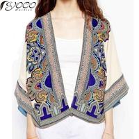 2014 Summer New National Wind Fashion Super Beautiful Temperament Was Thin Printed Kimono Shirt WWT14829