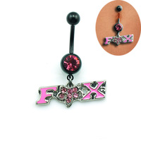 NEW Dangle Animal Fox Pendant navel Belly rings fashion women body piercing jewelry Nickel-free belly button rings 14G DQK0768