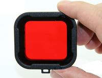 F08638 Polarizer Red Color Underwater Diving UV Lens Filter For GoPro Hero3+ / 3 Plus Camera + Freeship