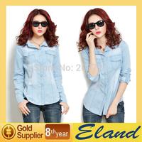 2014 Hot Sale Fashion Blouses Loose Long Sleeve Women's Cowboy Shirt free shipping