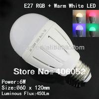high quality 6w E27 rgbw led bulb wifi led light lamps  (led bulb + RF Controller + wifi control)