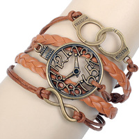 New 2014 wholesale Vintage 3pcs Infinity bracelet,clock&culf brown leather bracelets for women 8036,free shipping