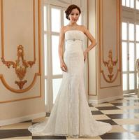 2014 fashionable new lace mermaid wedding dress Princess Korean strapless high waist fishtail bridal gown