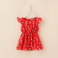 Kids Girls Summer Chiffon Dress Red Color Cute Rabbit Print Patter Baby Children Casual Clothes New 2014 Wholesale 3-8Years