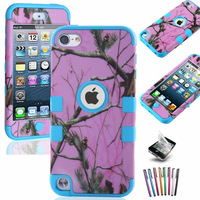 Blue Triple Camo Mossy Branch Leaf Tree on Pink Hybrid Armor Hard & Soft  Cover Case for iPod Touch 5 5TH Gen,Free Stylus+Film