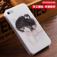Rhinestone diamond cartoon handmade three-dimensional relief effect case cover for iphone 4/4s capa papra 4/4S