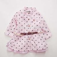 5sets/lot (6M-36M) Wholesale Baby Girls Dresses 2 pcs set, long Sleeve dress with belt Cotton Baby Dress Free Shipping