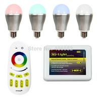 AC110-240V,16million color RGBW wifi bulb 9W Mi light E27 (10pcs led bulb +1x controller+1x wifi controller)