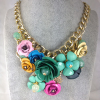summer colorful flower crystal gold chain Choker Collar Chunky Statement Necklaces & Pendants Jewelry For Women brand jewelry