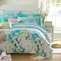 Free Shipping,luxurious Tencel 4pc Full/Queen/King bedding sets flower floral blue green printed quilt/duvet covers home textile