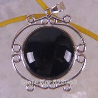 Black Agate Bead Inlay Pendant Jewelry Free shipping S599