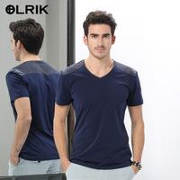2014summer new men's V-neck T-shirt short sleeve stitching factory direct brand