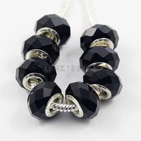 100Pcs/Lot Larger Hole Rhombus Crystal Beads Black Colour Free Shipping