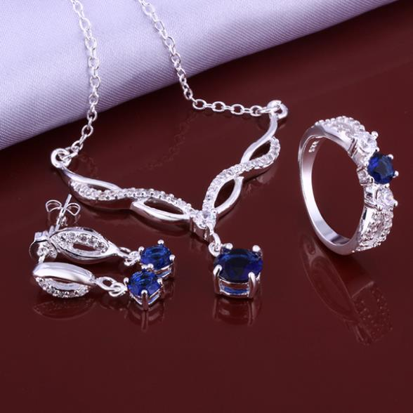Hot Sale Fashion 925 Sterling Silver Jewelry Set with Blue Zircon Crystal ring earrings necklace jewelry sets for women S639(China (Mainland))