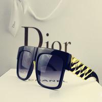 Free Shipping Kim Beyonce Celebrities Metal Gold Chain Oversized Shades Sunglasses Men Women Brand Glasses Eyewear/Sunglass-1