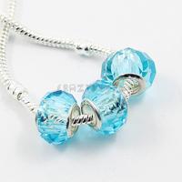 100Pcs/Lot Larger Hole Rhombus Crystal Loose Beads Light Blue Free Shipping
