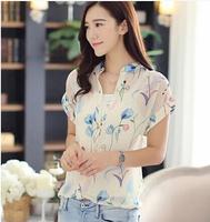 2014 summer twinset fancy short-sleeve chiffon shirt elegant shirt chiffon shirt free top as a gift