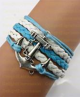 (Min Order $6) Handmade Bangle Antique Silver Karma Chain Anchor Rope Girl Leather Bracelet Gift Fashin Jewelry