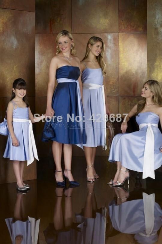 Modest Strap Spaghetti uma linha de cetim para casamentos na altura do joelho adolescentes 2014 azul júnior raparigas vestido da dama de UM884(China (Mainland))
