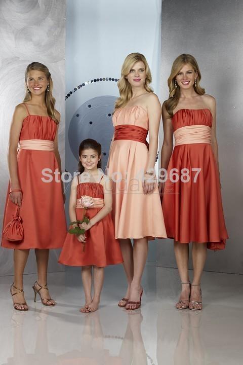 modesto alcinhas cetim uma linha para casamentos comprimento chá adolescentes 2014 laranja júnior meninas vestido da dama de honra um878(China (Mainland))