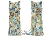 Floral print knit sets sexy perspective chiffon dress