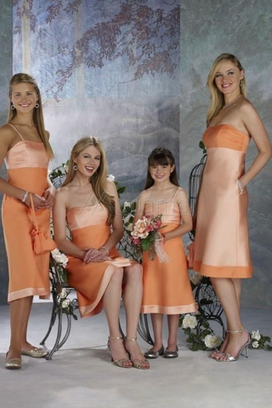 Modest Strap Spaghetti uma linha de cetim para casamentos na altura do joelho adolescentes 2014 júnior raparigas laranja vestidos dama de honra UM894(China (Mainland))