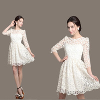 New Spring 2014 Fashion Elegant Sheer Women Lace Casual Dress Summer White Cocktail Party Dresses Plus Size Work Wear Clothes