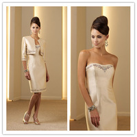 Exquisite Sweetheart A-Line Bridesmaid Dresses Fashion Beading Satin Knee-Length Adult Prom Dress cc032