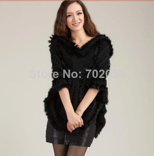 2014 new winter twisted knit solid Rabbit fur jacquard hooded Poncho Cape Cardigan Knitting lady shawl stole wraps Sweater #3621(China (Mainland))