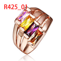 Couple Rings Gothic Jewelry Rainbow Women Ring Rose Gold Plated Color Zircon Crystal Jewellery Fashion Accessories 18KGP R425