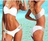White decorative hollow filament wrapped chest bikini
