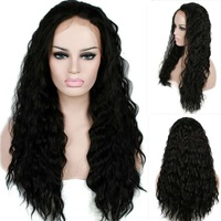 perucas 22 inch African American Women Black Long Curly Cheap Synthetic Hair Lace Front Wig For Sale Free Shipping
