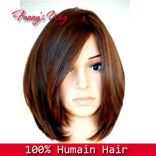 Rihanna Cabelo Curto Liso Preto Nenhum peruca e Frente Lace Wig Cabelo Humano Bob peruca , Dark Brown , 12inch.HU094(China (Mainland))