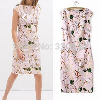 Free shipping !  2014 Girls Sleeveless Leaf Print Pattern Cheongsam Dress ladies fashion dress evening dress