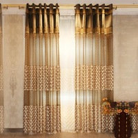 Luxury villa European embossed embroidered gauze finished shade screens upscale modern living room curtains