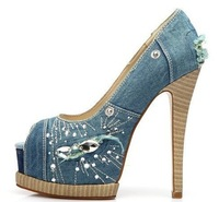 Free shipping 2014 women nice diamond high heels denim pumps laies sexy party shoes Blue Jean Sandals