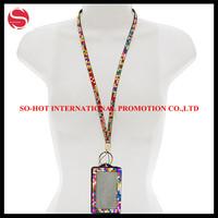 custom fashion rhinestone lanyards with id badge holder, glitter lanyards id badge holder