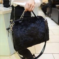 New 2014 winter women messenger bags black handbag leisure rivet locomotive bag shoulder bag,BAG192