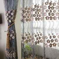 Upscale luxury embroidered gauze curtain screens  new Chinese living room living room dining customization