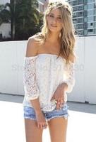 Free Shipping casual white lace word strapless sexy woman shirt lady Hollow blouse EU & USA fashion lady blouse