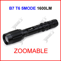 ( 10 pcs/lot ) B7 Black TrustFire XML-T6 Zoomable Focus LED 1600lumen Waterproof 18650 Camp Bicycle Flashlight Torch 5Modes