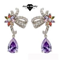 Joyme Brand 2014 New Style Top Quality Cubic Zircon Drop Earrings for women Fashion Wedding Jewelry zirconia Earring